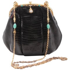 Faux Jeweled / Enamel Trim Gold Plate Frame Black Lizard Handbag, c 1925
