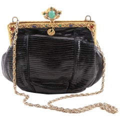 Black Lizard Evening Bag with Faux Jeweled Gold Plate Handbag Frame, circa 1925