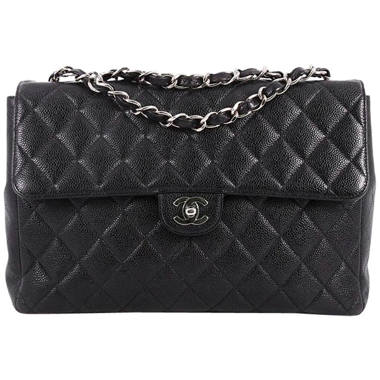 9d278084b3a0 Chanel Vintage Square Classic Single Flap Bag Quilted Caviar Jumbo For Sale