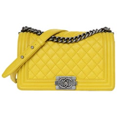 Chanel Yellow Calfskin Leather Quilted Medium Boy Flap Bag