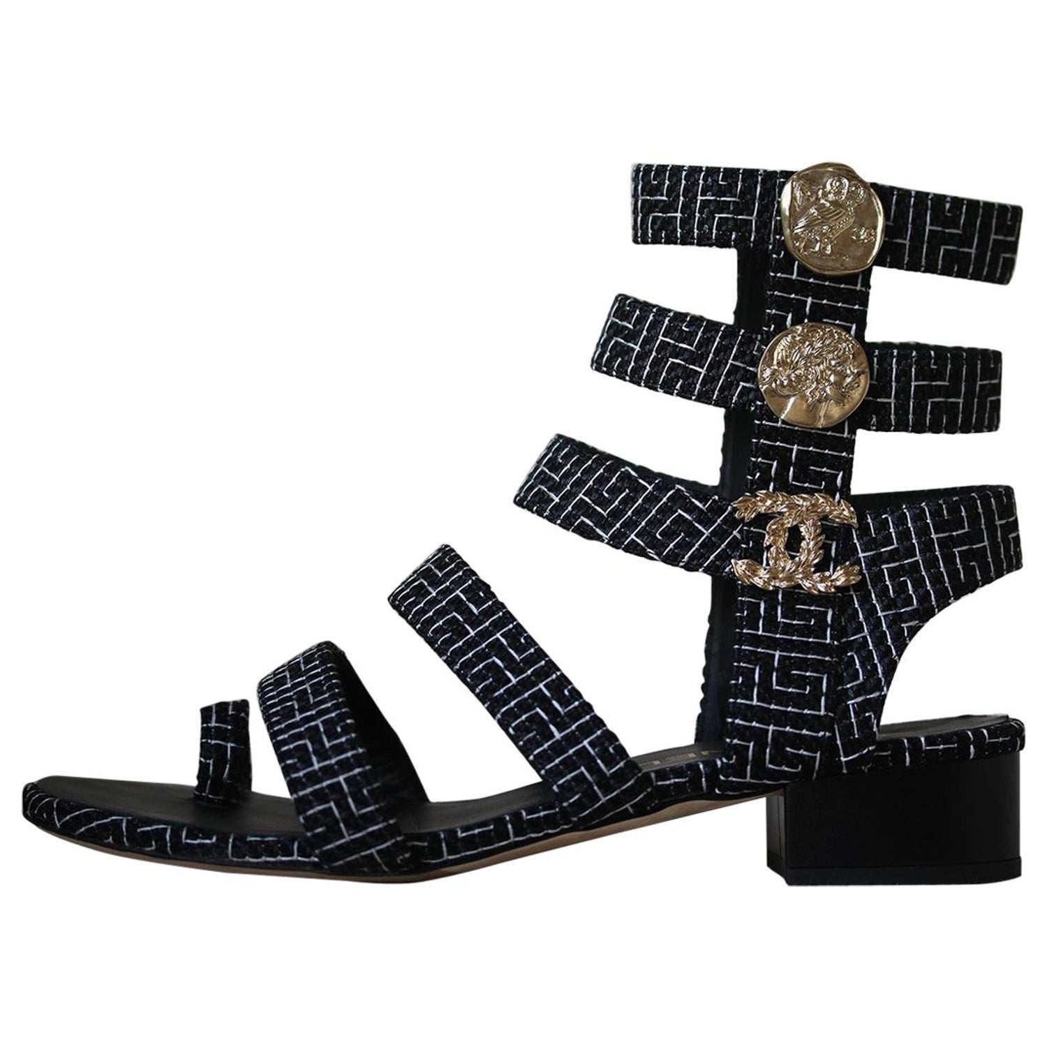 79df243e39a Chanel Coin Embellished Gladiator Sandals at 1stdibs