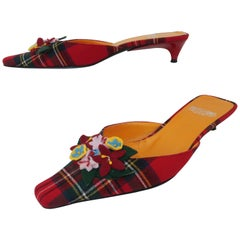 Moschino Plaid Wool Kitten Heel Mules Shoes