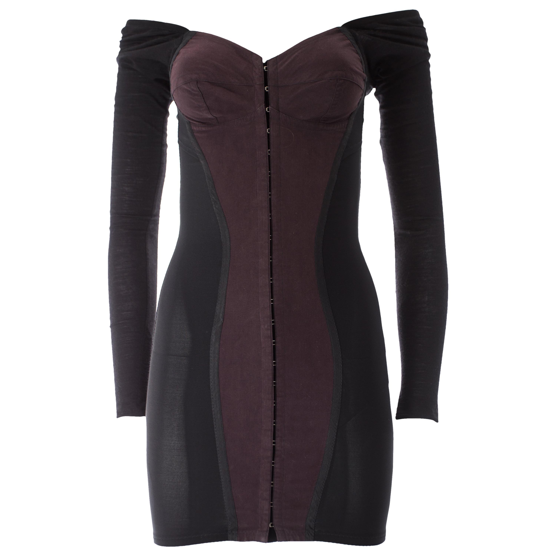 Dolce & Gabbana black jersey and spandex corseted bodycon mini dress, A / W 1989