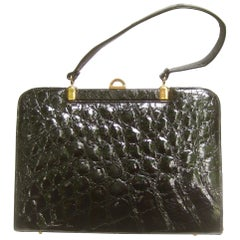Genuine Alligator Ebony Handbag, Circa 1960