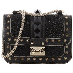 Valentino Glam Lock Shoulder Bag Embellished Leather Mini