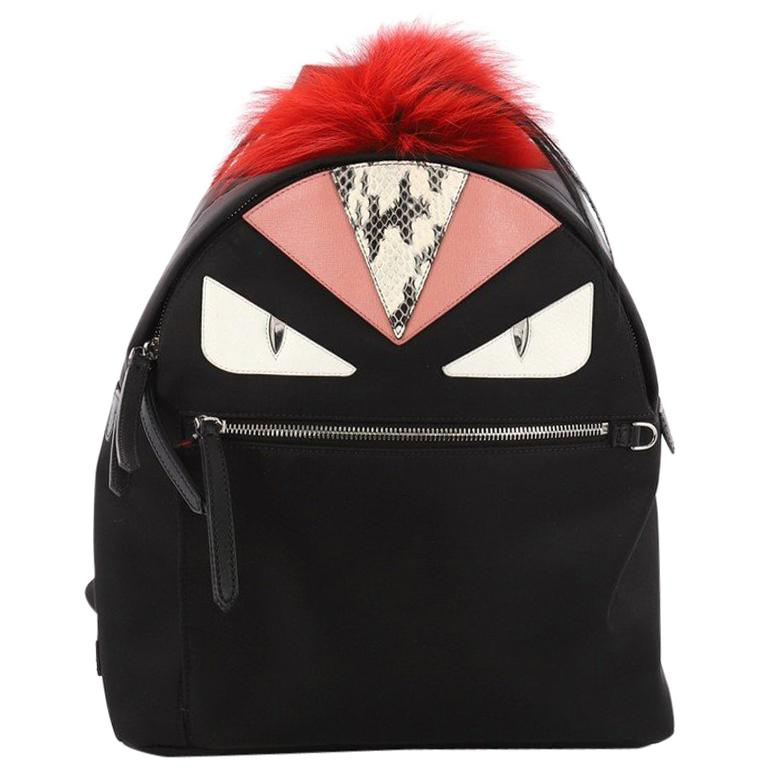 5c072199013b Fendi Monster Backpack Nylon with Leather and Fur Large at 1stdibs