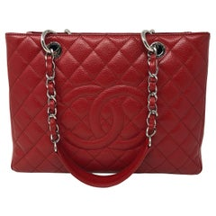Chanel Red Grand Shopper Tote Bag