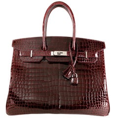 Hermès Bordeaux Porosus Crocodile 35 cm Birkin Bag