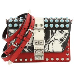 Prada Elektra Shoulder Bag Studded Printed Leather Small