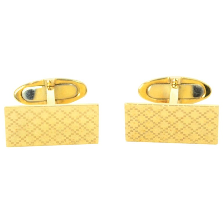 Gucci Men's Yellow Gold Diamantissima Cufflinks with Pillow  For Sale