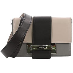 Prada Metal Ribbon Shoulder Bag City Calfskin Small