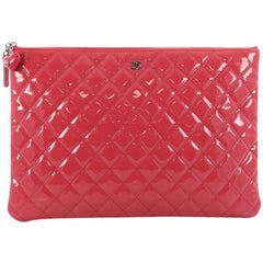 Chanel Valentine Hearts O Case Clutch Quilted Patent Large
