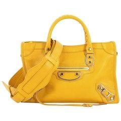 Balenciaga City Classic Studs Metallic Edge Handbag Leather Small