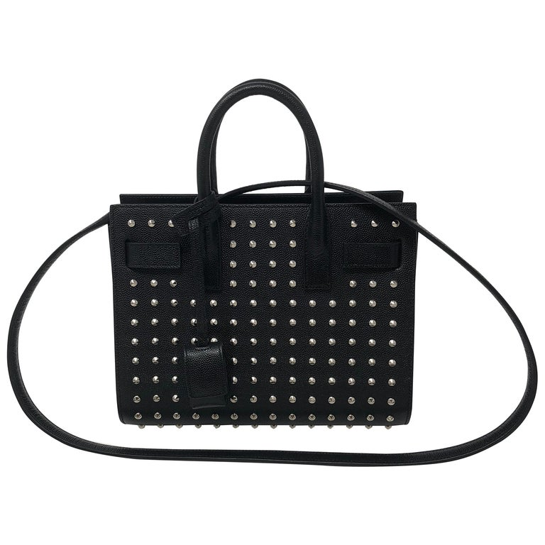 Yves Saint Laurent Black Studded Nano Sac Du Jour Bag