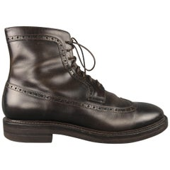 Brunello Cucinelli Brown Leather Wingtip Brogue Boots / Shoes