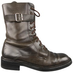 Prada Taupe Leather Ankle Strap Combat Boots / Shoes