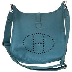 Hermes Evelyne Teal GM Crossbody Bag