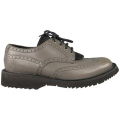 Prada Grey Leather and Nylon Wingtip Lace Up Shoes