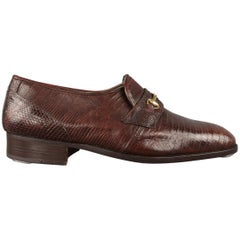 Emilio Parioli Brown Lizard Textured Penny Loafers Shoes