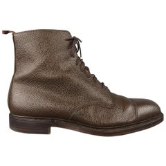Black Fleece Brown Pebbled Leather Cap Toe Ankle Shoes Boots