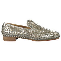 Christian Louboutin Silver Spiked Leather Dandy Pik Pik Loafers