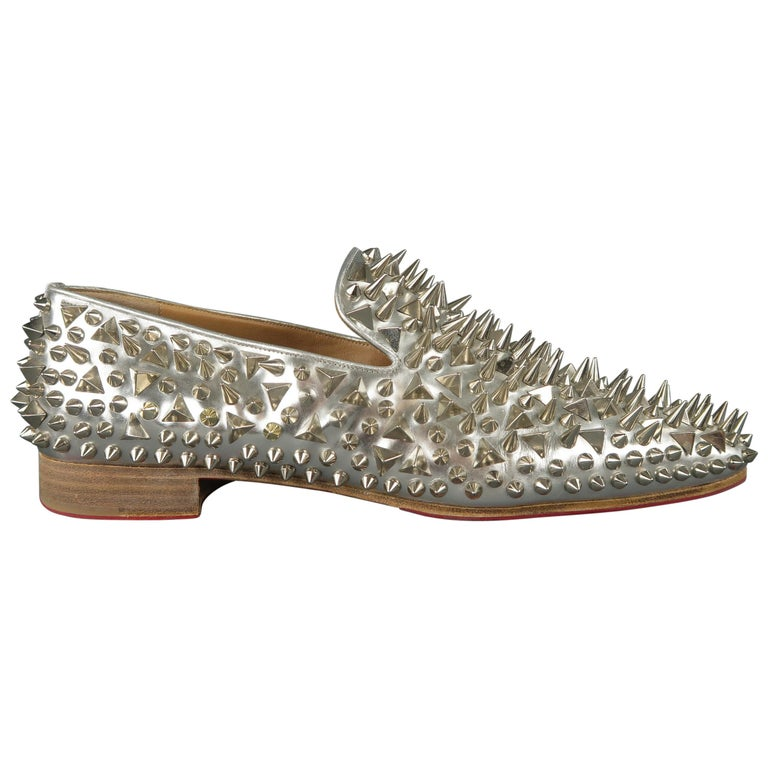 f7838a1f828 Christian Louboutin Silver Spiked Leather Dandy Pik Pik Loafers