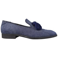 Jimmy Choo Loafers Blue Antique Denim Tassel Foxley Shoes