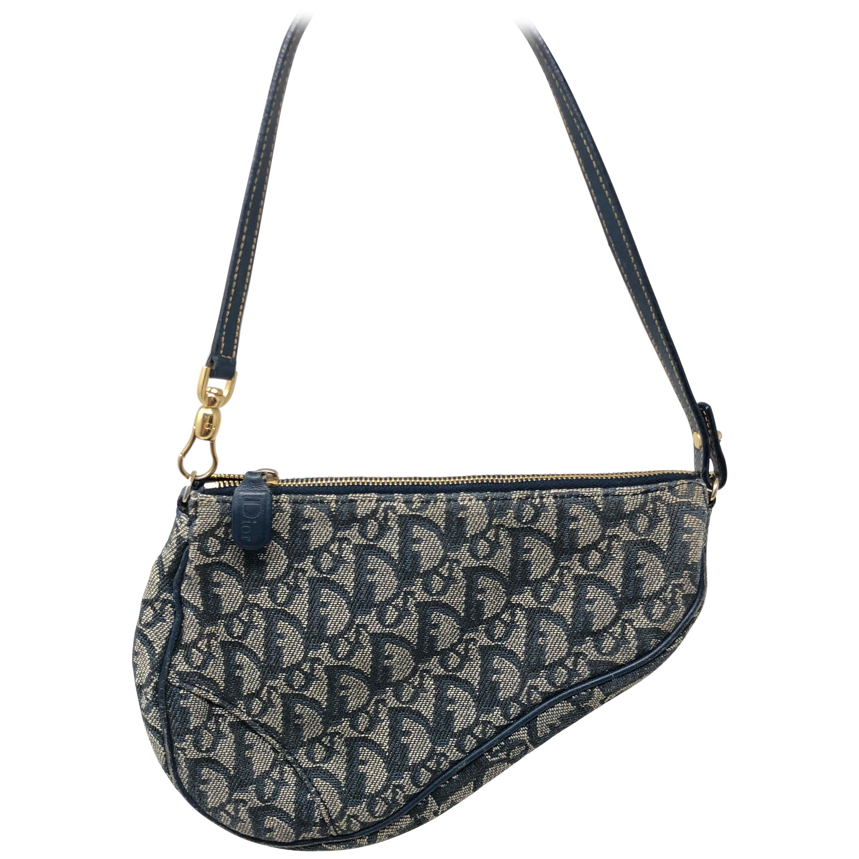 e54680cceb6a Christian Dior Monogram Denim Saddle Bag at 1stdibs