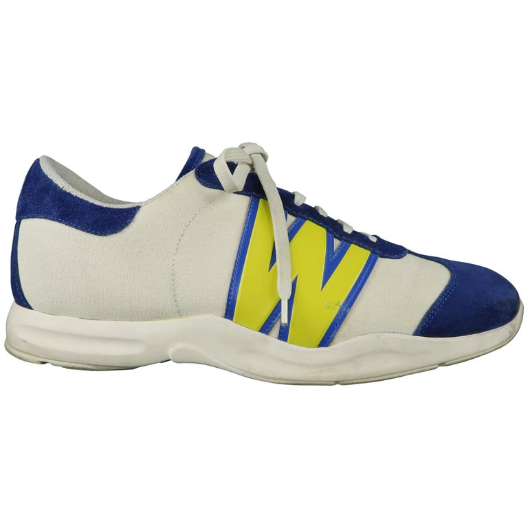 4c2ce3393adff4 WALTER VAN BEIRENDONCK W LT Size 10 White Canvas Blue Suede W Sneakers For  Sale