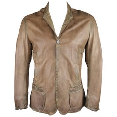 Un Solo Mundo XL Tan Distressed Leather Notch Lapel Coat Jacket