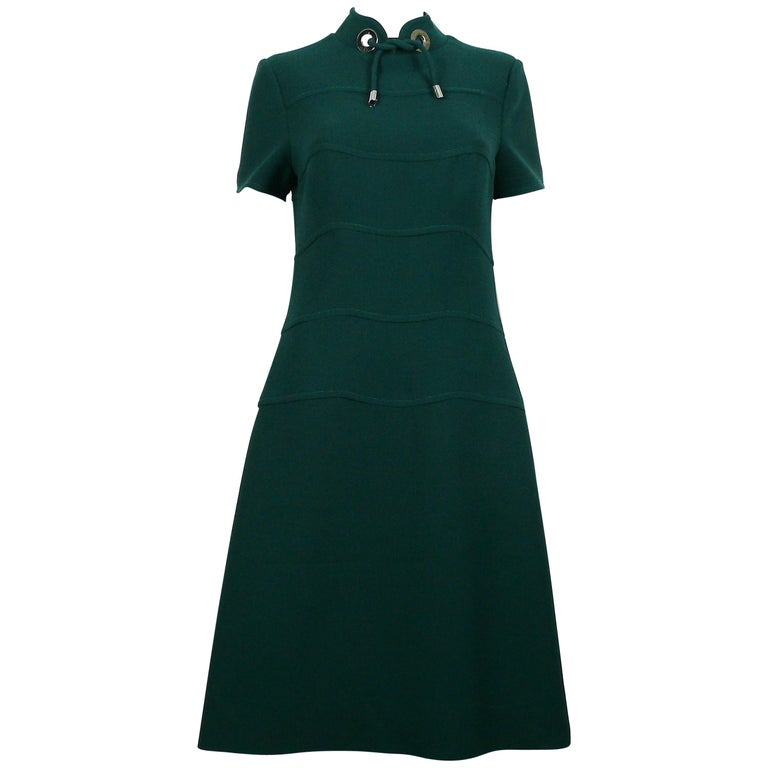 Louis Feraud Vintage Green Wool Space Age Dress