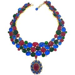 Rare 1970's Mademoiselle Chanel  Byzantine Necklace by Gripoix