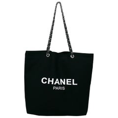 Chanel Black Canvas Tote Shopping Gift Bag
