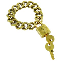 Christian Dior Gold Toned Lock and Key Bracelet