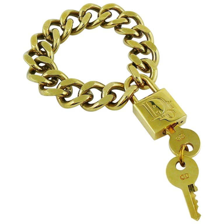 e5d32b331b9c Christian Dior Gold Toned Lock and Key Bracelet For Sale at 1stdibs