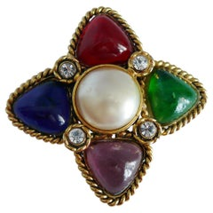 Chanel Vintage Gripoix Poured Glass Brooch, 1988