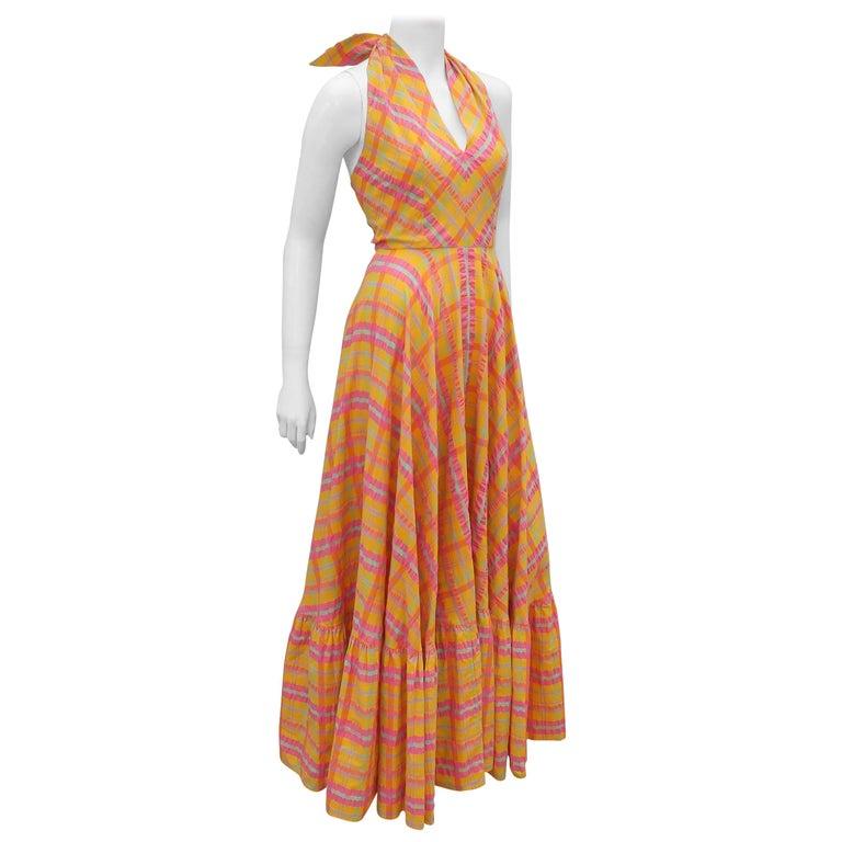 Christian Dior Seersucker Plaid Cotton Halter Peasant Dress, 1960s  For Sale
