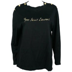 Yves Saint Laurent YSL Vintage Signature Black Top