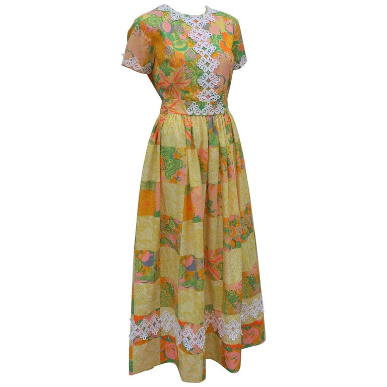 aedc6043f5e4ae Lilly Pulitzer Fruit and Floral Print Maxi Dress, 1960s For Sale at ...