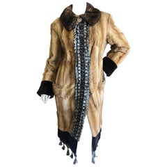 Yves Saint Laurent Luxurious Embellished Chinchilla Fur Coat