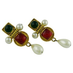 Chanel Vintage Gripoix Poured Glass and Faux Pearl Dangle Earrings