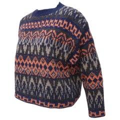 Benetton Italian Shetland Wool Fair Isle Sweater, 1980s