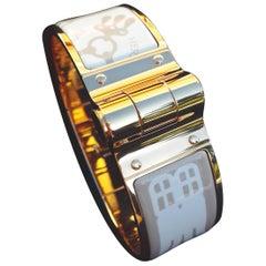 Hermès Charnière Hinged Mors a Jouet Tattoo Candeur Rosé Gold Enamel Bracelet