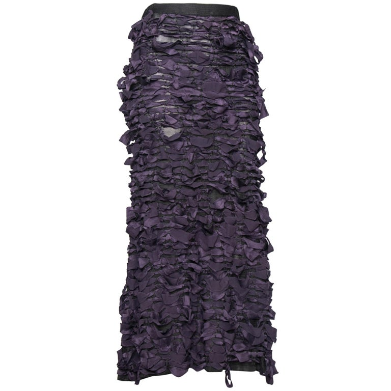 Yves Saint Laurent by Tom Ford Vintage Raw Ribbon Skirt, Fall 2001  For Sale