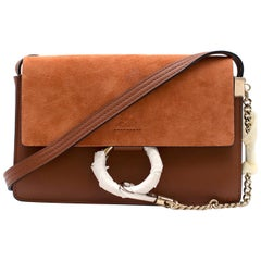 Chloe Faye Leather and Suede Crossbody Bag