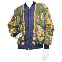 A Vintage 1980s Hermès Reversible Silk Bomber Jacket