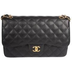 Chanel 2.55 Timeless Jumbo Double Flap Bag - black caviar leather/gold