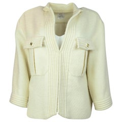 Chanel Cream Glitter Open Tweed Jacket W/ Ribbed Trim And CC Buttons Sz 42
