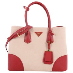 Prada Cuir Double Tote Canvas and Saffiano Leather Medium