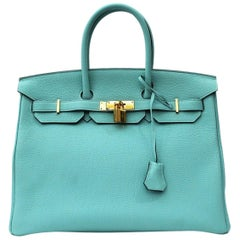 Hermès Blue Atoll Togo Gold Hardware Top Handle Birkin 35 Bag